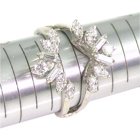 Vintage Mid Century Fifties Diamond 14K White Gold Ring Guard