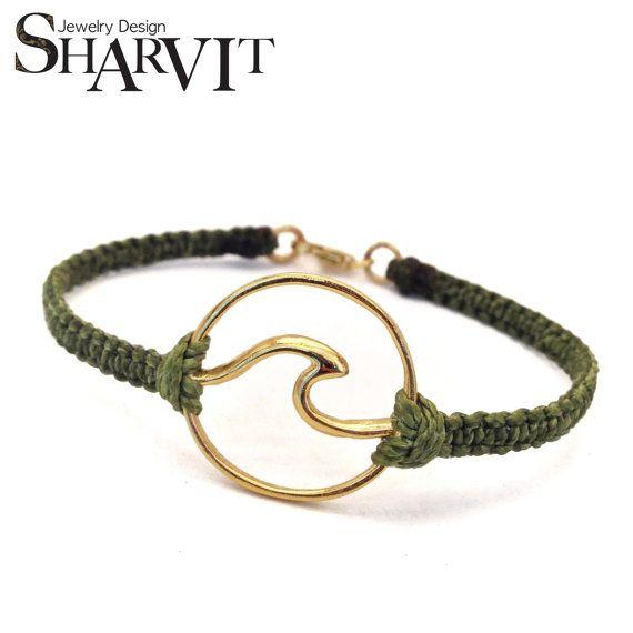 Wave Bracelet Gold wave bracelet Surf jewelry Ocean by Sharvit