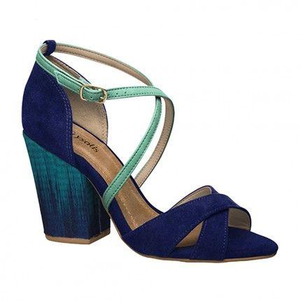Sandália Salto Grosso Crisalys 40353343 | Loja Vivi  Sandália Azul com verde Combinação super atual!!!