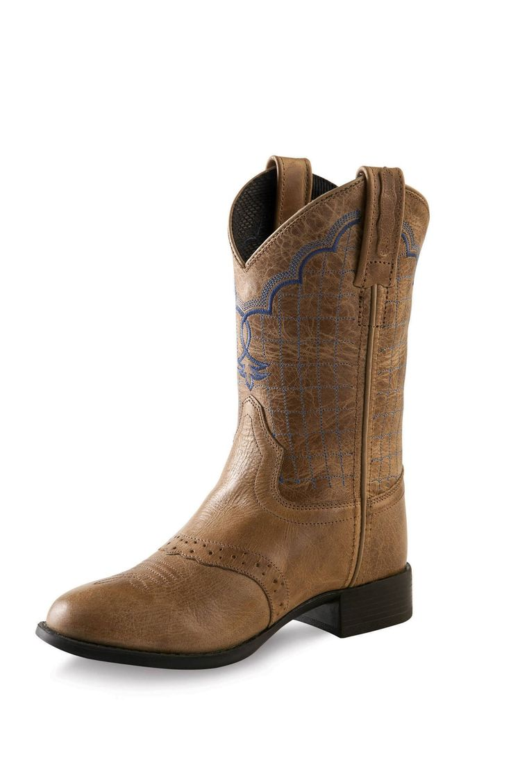 Old West Tan Fry Kids Western Boots