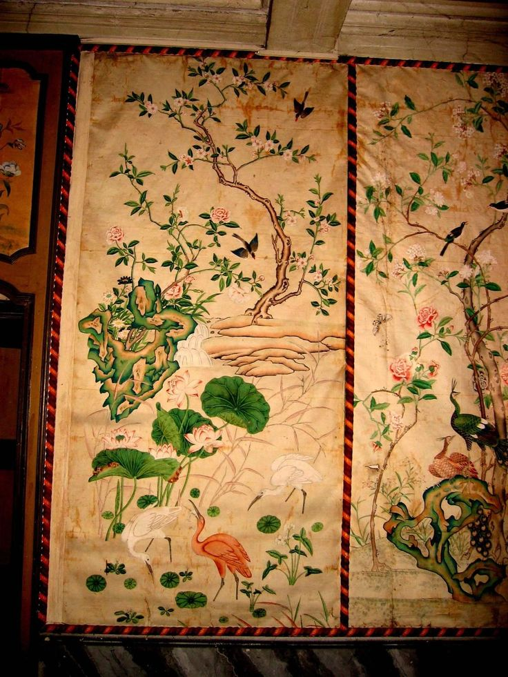 12 Antique and Rare Chinese Wallpapers Panels | From a unique collection of antique and modern wallpaper at https://www.1stdibs.com/furniture/wall-decorations/wallpaper/