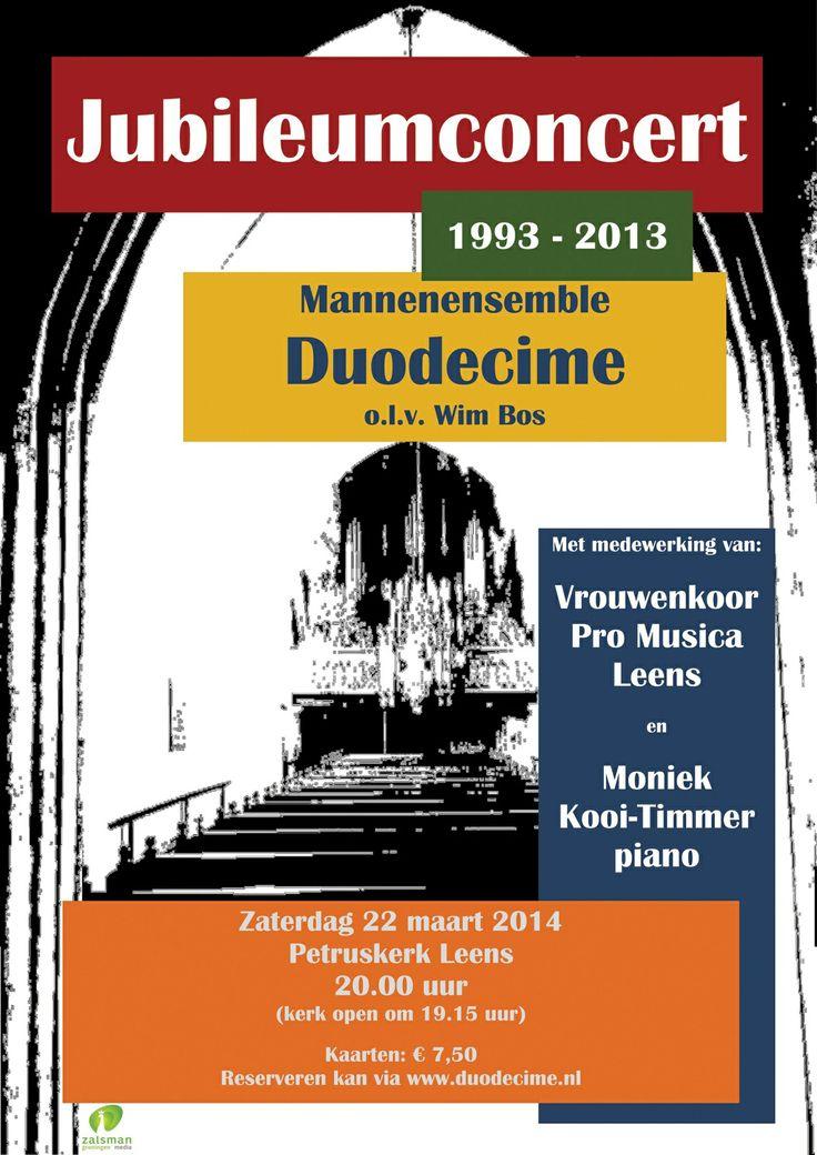 20 jaar Mannenensemble Duodecime....een concert vol nostalgie en herinneringen. Duodecime brengt een veelzijdig repertoire dat garant staat voor een muzikale avond. Voor de pauze een muzikale reis door de tijd. Na de pauze nemen we u mee naar de operette wereld van Robert Stolz en hoort u het favoriete repertoire van de leden van Duodecime die op haar vele concerten ten gehore zijn gebracht.