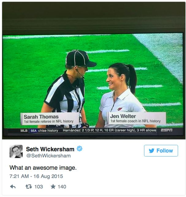 Sarah Thomas, first female referee in NFL history, meets Jjen Welter, first female coach in NFL history.