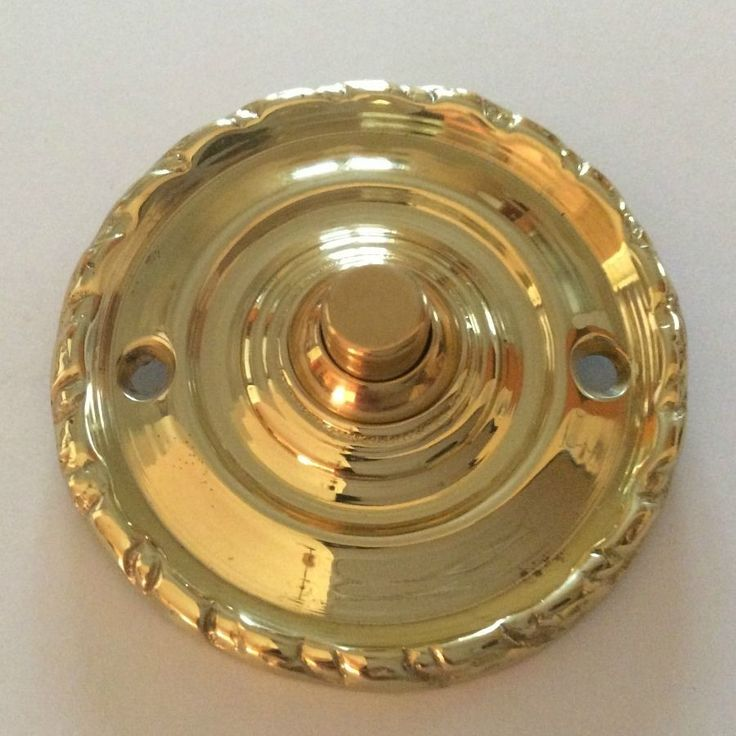 Solid Polished Brass Round Georgian Rope Style Door Bell Push Button Switch