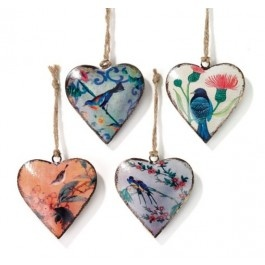 Set of 4 Bird Heart Decorations £11.50