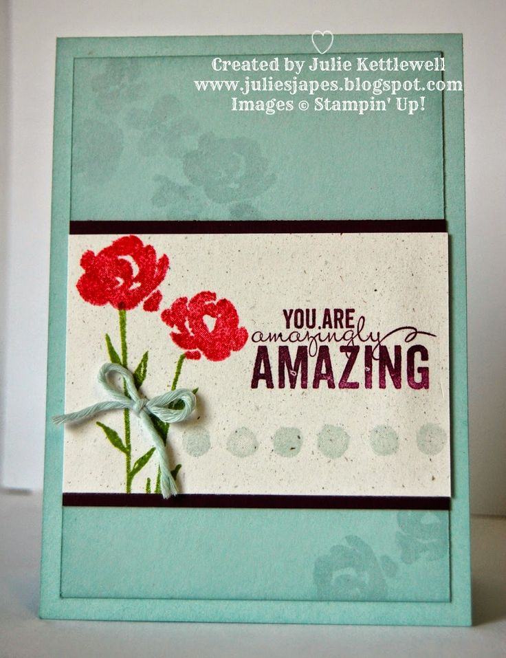 A great beginners card.  One stamp set, tone on tone stamping and how to tie a bow!