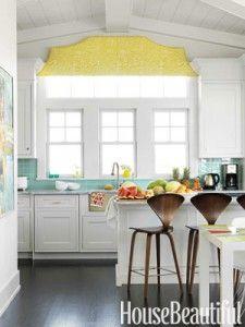 White cabinets, Turquoise backsplash, pop of yellow!Ideas, Barstools, Beach House, Subway Tile, Colors, Windows, Bar Stools, White Cabinets, White Kitchens