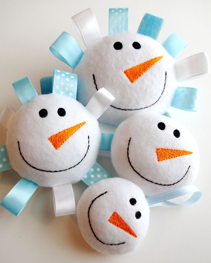 Snowman Softie - Ornament In-The-Hoop Embroidery Design for Machine Embroidery - 4 SIZES. $3.99, via Etsy.
