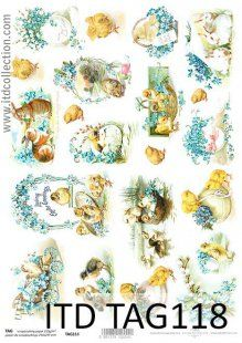 Papier scrapbooking - wielkanoc ITD Collection TAG118