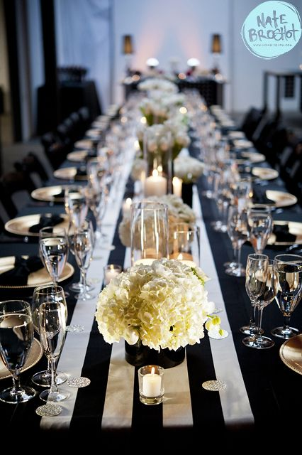 Black, white and gold wedding. White wedding flowers. Zest Floral and Event Design. www.zestfloral.com Photo: Nate Broshot