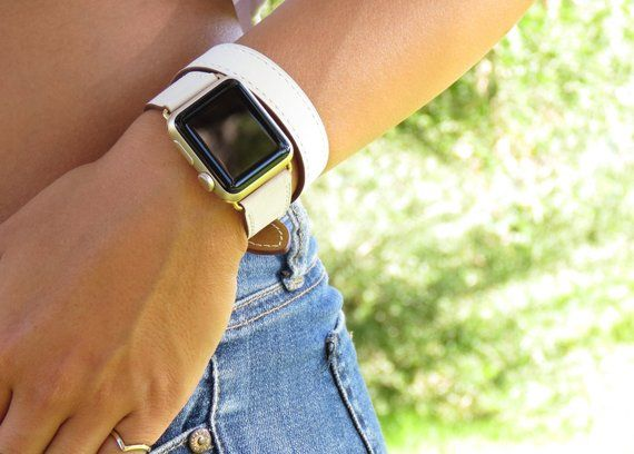 Double Leather Apple Watch Band 38mm 40mm 42mm 44mm Apple Watch Series 5 4 3 2 1 Apple Watch Bracelet Apple Watch Double Wrap Soft Olive Apple Watch Bands Leather 38mm Apple Watch Band Apple Watch