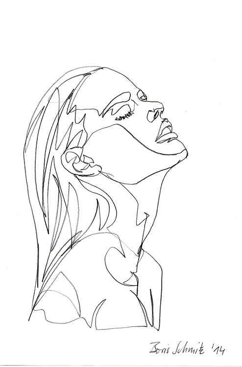 """Gaze 26"", one-continuous-line-drawing by Boris Schmitz, 2014"