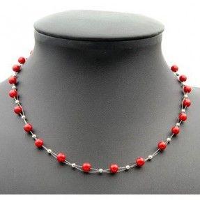 Feine Halskette aus Korallen und 925 Silber