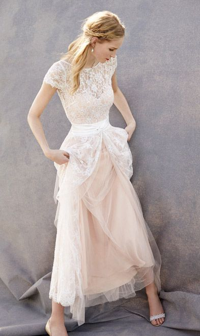 Lovely Wedding Dresses,Blush Pink Wedding Gown,Tulle Wedding Gowns,Lace Bridal Dress,Romantic Weddin on Luulla