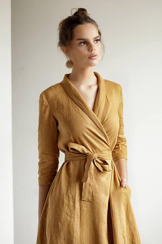 292e059eb4 Mustard Linen Shawl Collar Wrap Dress in 2019