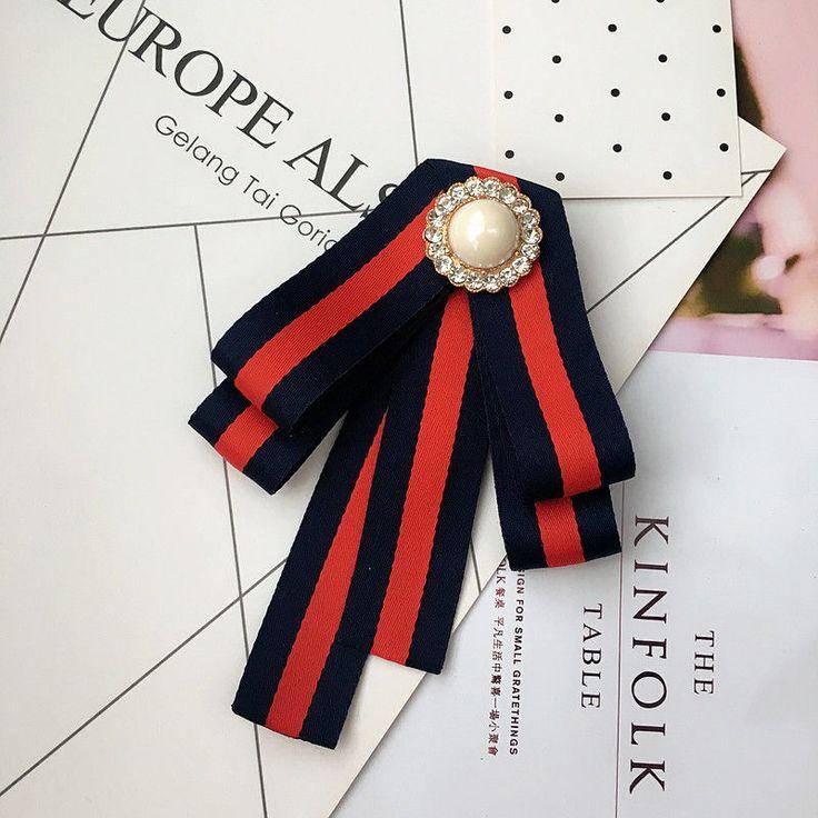 Red Green Ribbon British Tie Women Accessories Bow Collar Fashion Brooch Pin #Handmade