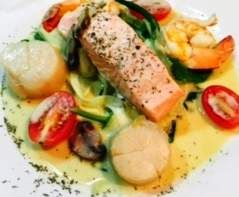 Salmon With Prawns and Scallops in Champagne Butter Cream Sauce | Official Thermomix Recipe Community