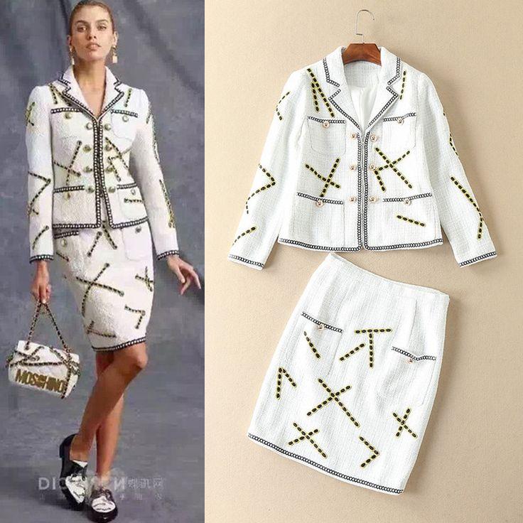 2016 взлетно-посадочной полосы стиль КУБ. СМ новый зима платье костюм небольшой аутентичные вышивка шерсть твид пальто юбка мода slim костюм из двух частей ОЛ установить
