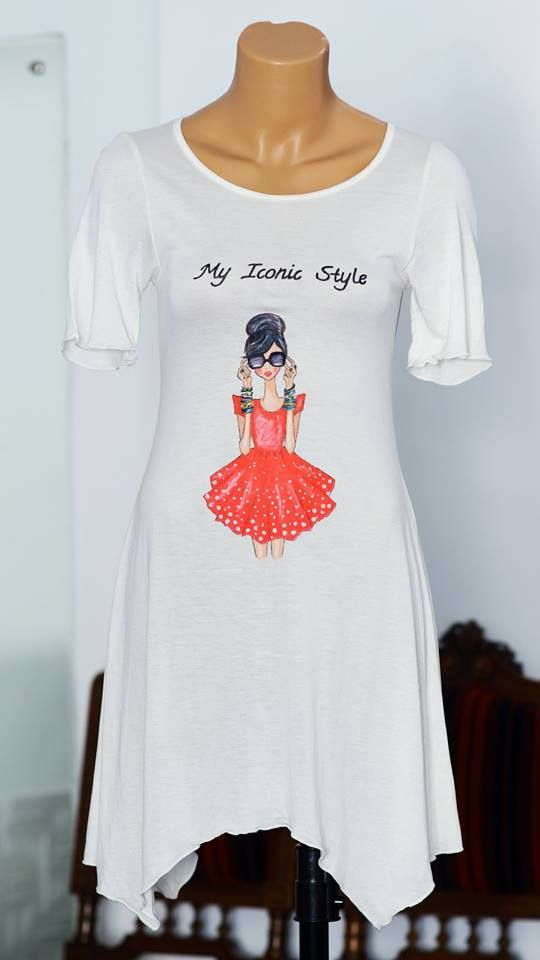 Handmade painted dress with textile colors. Iconic girl style design.