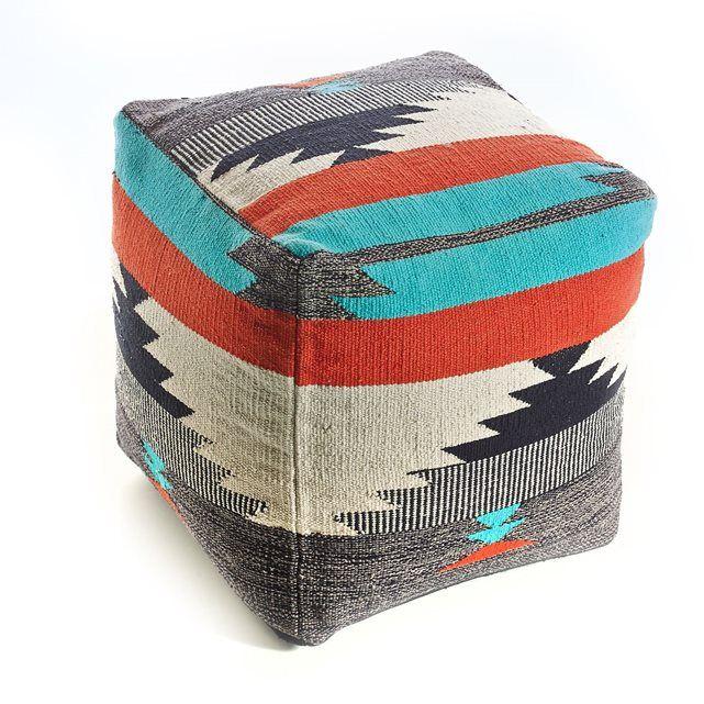 Pouf carré tissé multicolore, Istahan La Redoute Interieurs | La Redoute Mobile