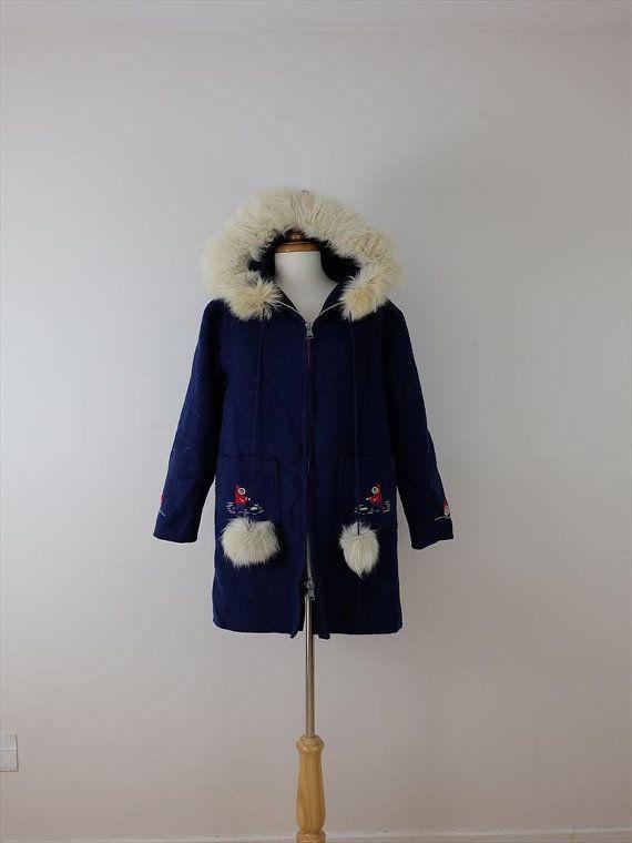 Vintage 1970's Blue Eskimo/Inuit Wool coat/Hooded Parka