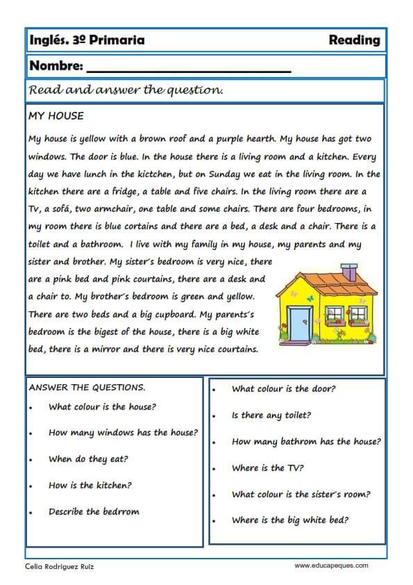 Reading And Writting Fichas De Inglés Para Tercero Primaria Ingles Basico Para Principiantes Fichas Ingles Lectura De Comprensión