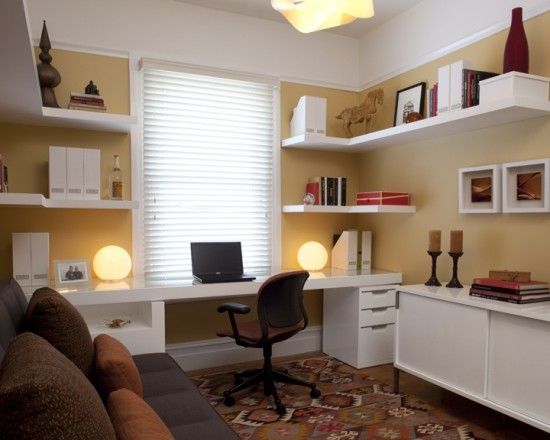 Home Office With Futon  Nice Use Of Shelving And Cabinets In A Small Room.