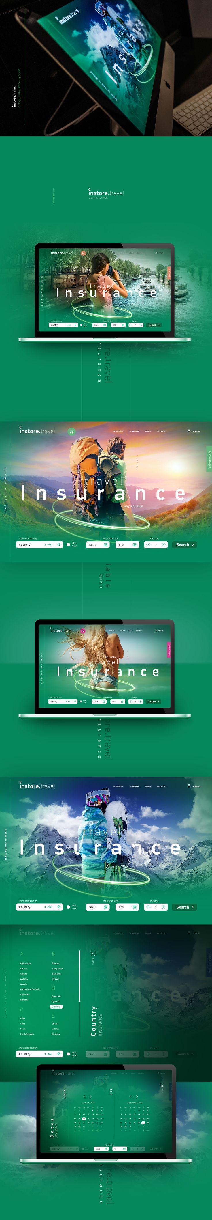 Travel insurance concept web-design
