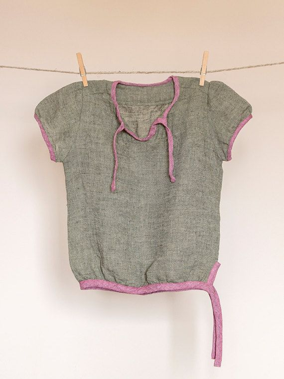 Girls tunic natural cotton-linen short by TheElfShopDesigns