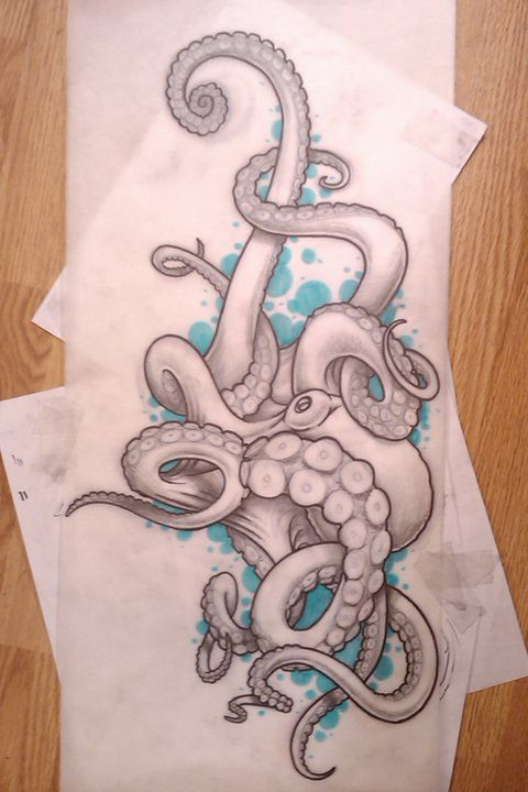 Beautiful sketch of a soon-to-be octopus tattoo by tattoo artist Electric Linda.
