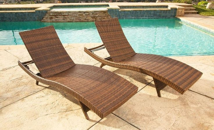 Transitional Outdoor Brown Wicker Chaise Lounge Set Adjustable Patio Furniture #ChaiseLoungeSet