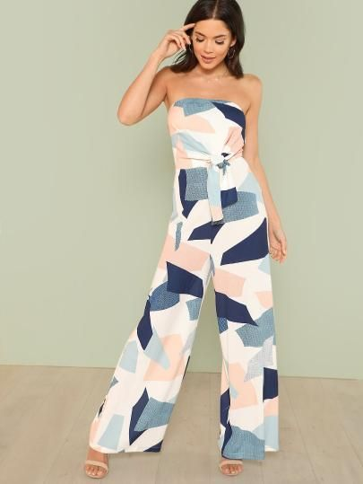 9b8b9c17a1 Shop Geo Print Knot Bandeau Jumpsuit online. SheIn offers Geo Print Knot  Bandeau Jumpsuit   more to fit your fashionable needs.