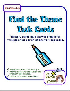 Teaching Theme in the Upper Grades and a FREEBIE!  I own MANY of this author's task cards and love each of them!
