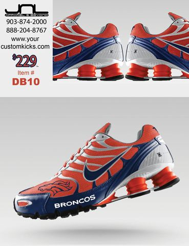 CUSTOM DENVER BRONCOS NIKE TURBO SHOX for $229+tax Item #DB10 Contact us at 903-874-2000 or 888-204-8767 M-Sat 9am CST-5pm CST Order at www.yourcustomkicks.com