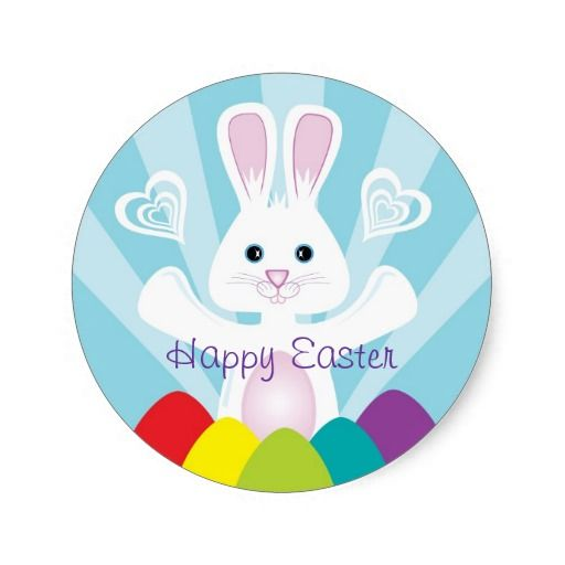 Easter bunny with rainbow eggs happy easter classic round sticker