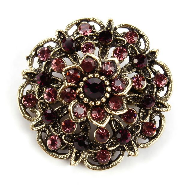 Crystal Rhinestones Vintage Flower Brooch Collar Lapel Pins for Women