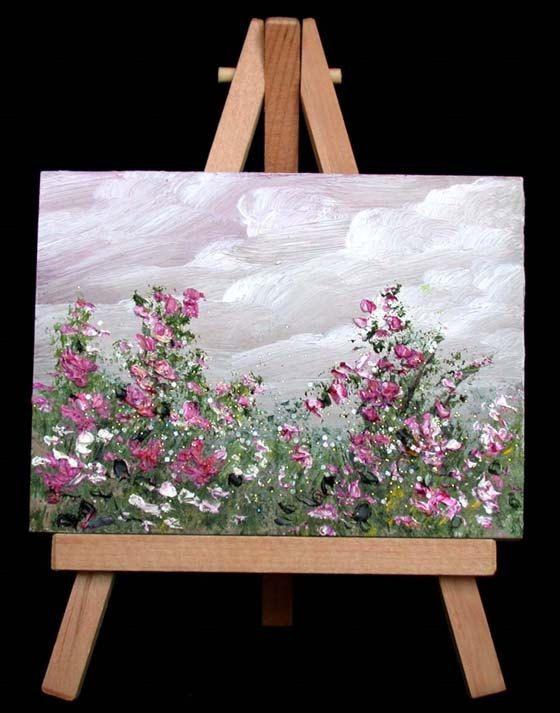 Flores pintura al óleo miniatura 20 orriginal 3 x 4