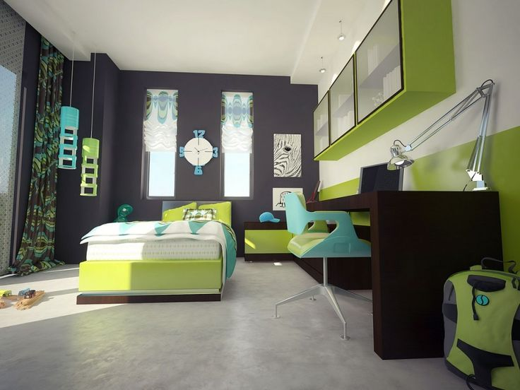 superb built in kids bedroom equipment collection green wall painting and black furnishing