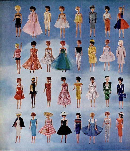 Vintage Barbie - we had some of these dresses. I know the three of us used to fight over the one 4th in on the second row!