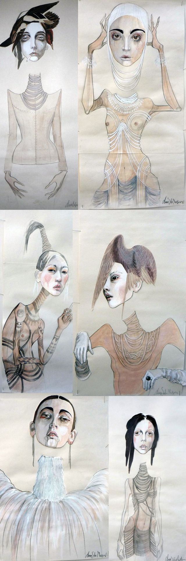 Fashion Sketchbook Drawings - fashion illustrations; concept sketches; fashion design collection development; fashion portfolio // Anne Sofie Madsen