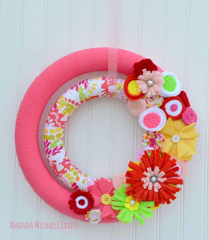 Fabric Wreath, Double Fabric Wreath, Spring Wreath, Summer Wreath, Summer Fabric Wreath, Felt Flower Wreath, Pink Wreath by AmandaMichaeleCrafts on Etsy https://www.etsy.com/listing/286094269/fabric-wreath-double-fabric-wreath