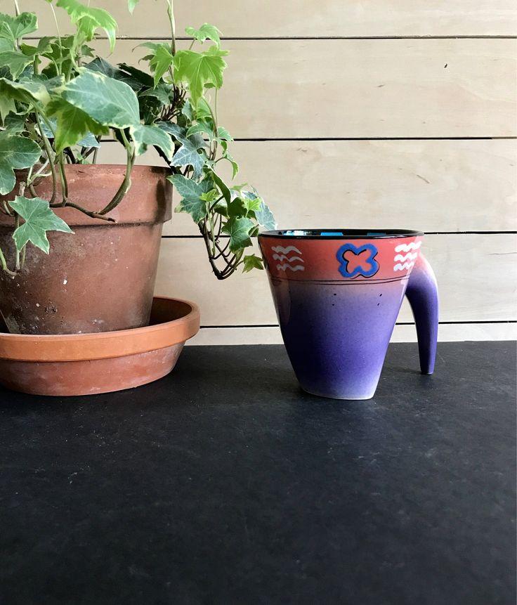 Southwestern mug / vintage taos mug / purple and pink mug / memphis style mug by BankandBleeker on Etsy https://www.etsy.com/listing/540810708/southwestern-mug-vintage-taos-mug-purple