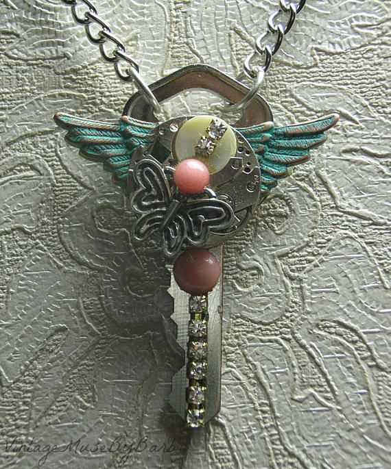 Handcrafted Steampunk Necklace Butterfly Rhinestones Mixed