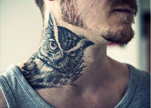 horned owl neck tattoo