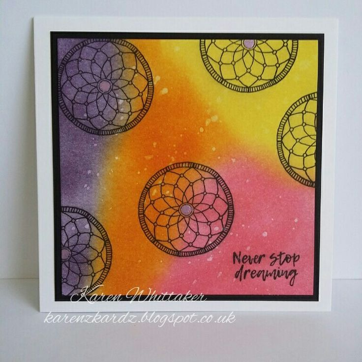 Chase Your Dreams  #fortheloveofstamps #dreamcatcher #distressinks #inky #bright #stamping #stamps #cardmaking #cards #craft #creative
