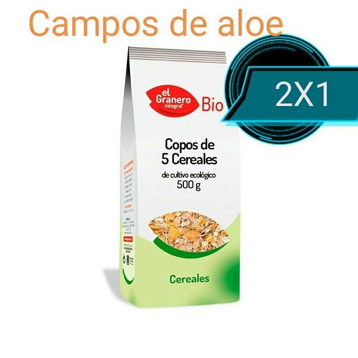 2X1 en los copos de 5 cereales bio www.camposdealoe.es