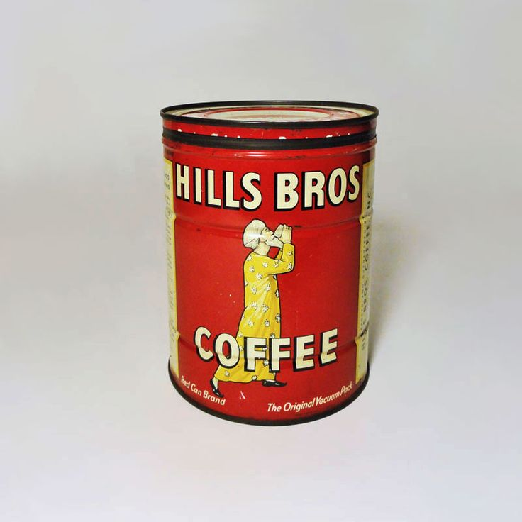 vintage hills bros 2 lb coffee tin can with metal lid