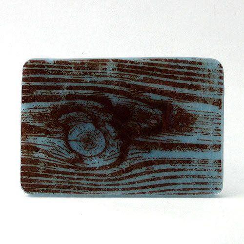 Fused Glass Buckle Woodgrain on powder blue  by kikuhandmade, $20.00