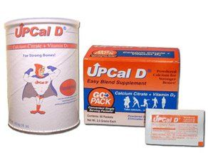 UPCAL D Powder 1 X 20oz Can by GLOBAL HEALTH PRODUCTS. $9.99. POWDERED CALCIUM CITRATE AND VITAMIN D3. CALCIUM CITRATE FOR MAX ABSORBTION. DEVELOPED TO BE ADDED  TO FOOD AND BEVERAGES. ECONOMICAL BULK POWDER. VIRTUALLY TASTELESS. UpCal D® is a powdered calcium that is virtually tasteless. It is 5 times more absorbent than calcium carbonate. UpCal D® yields 500mg of calcium citrate and 250IU of Vitamin D3 per 2.5 grams of UpCal D® .