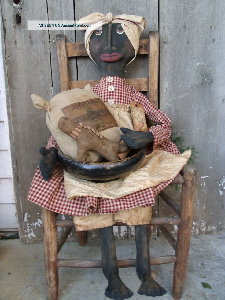 Primitive Grungy Backing Ginger Bread Mammy Doll Set Primitives photo